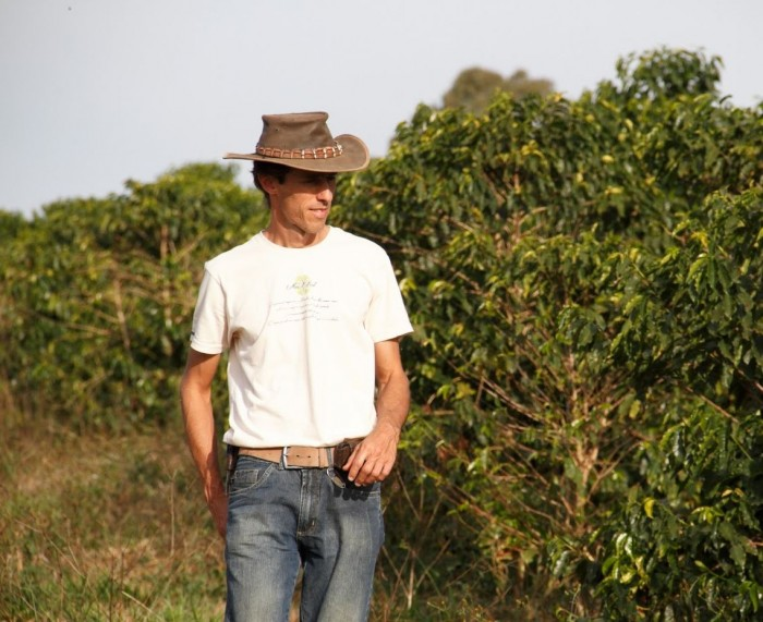 Brazilian coffee farmer Jefferson Adorno on his coffee plantantation