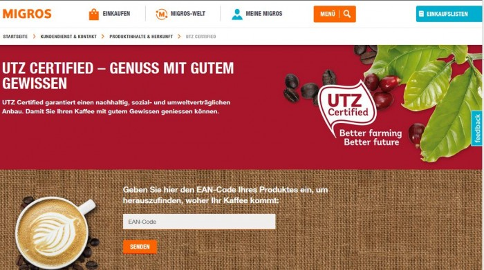 Migros tracer website where consumers can find out where their coffee comes from.