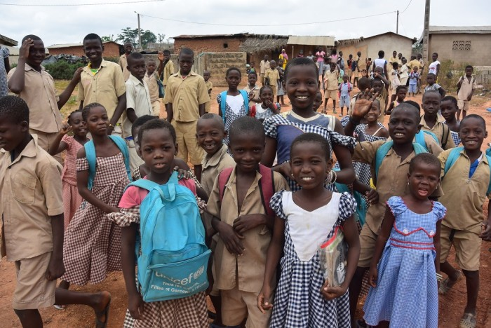 Children after school in cocoa community in Côte d'Ivoire