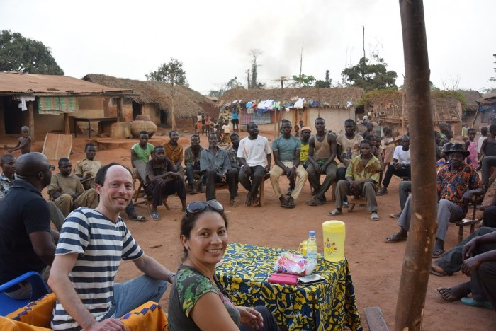 Maya and Paul from UTZ visiting a cocoa community in Côte d'Ivoire.