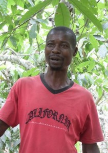 Close up of cocoa farmer James Kojo Acquah