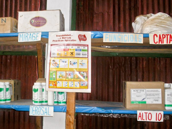 Agrochemicals safely stored with instructions at a coffee farm in Guatemala