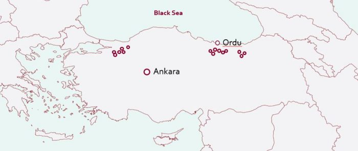 Map of hazelnut producing areas in Turkey