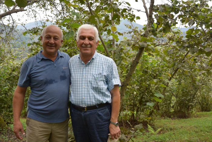 Hazelnut farmer Özer Akbaşlı and Mustafa Şahin, head of Keşap Farmer Union