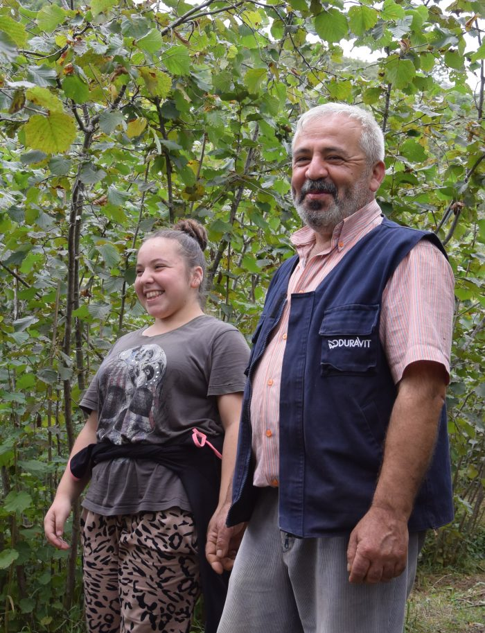 Hazelnut farmer Orhan Güler and daughter