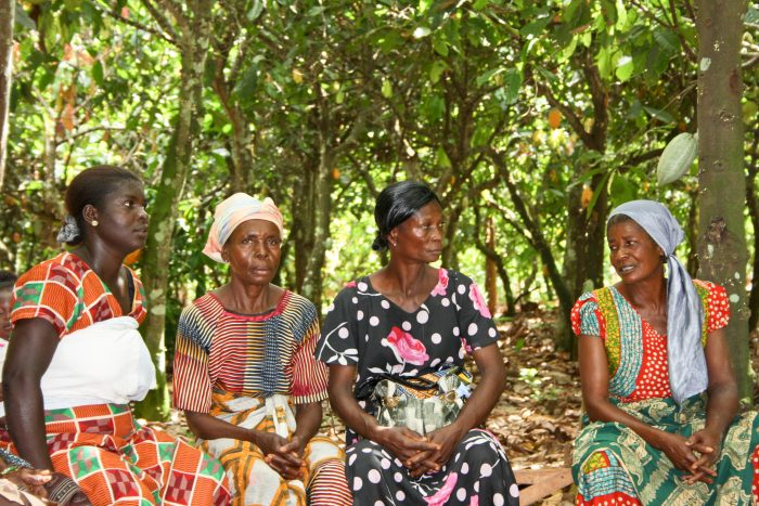 Female cocoa farmers joining a Farmer Field School in Ghana