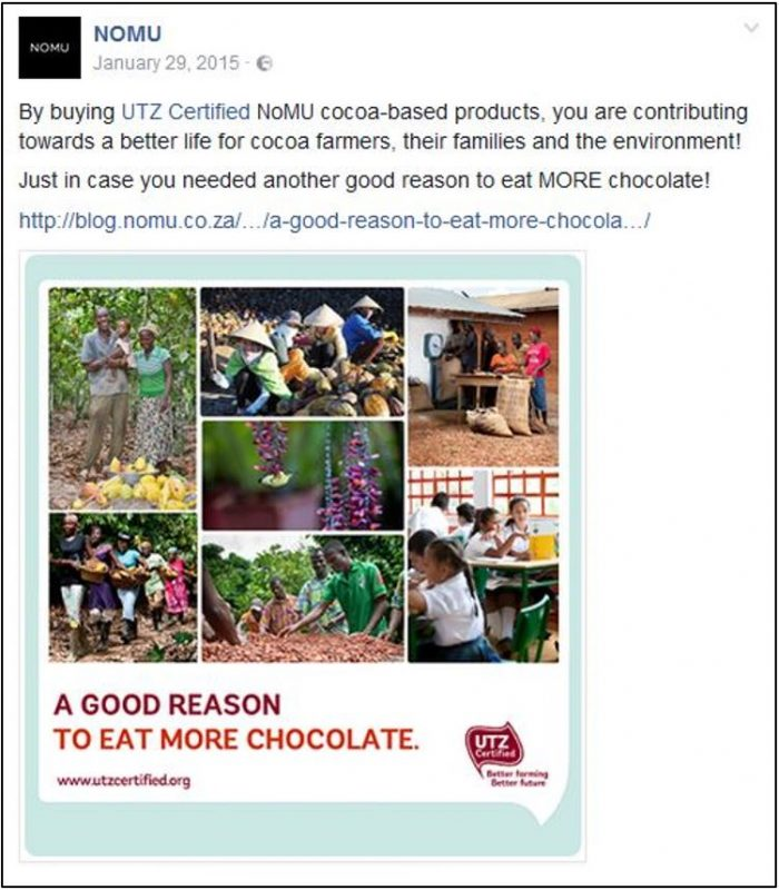 NOMU Facebook post - A good reason to eat more chocolate