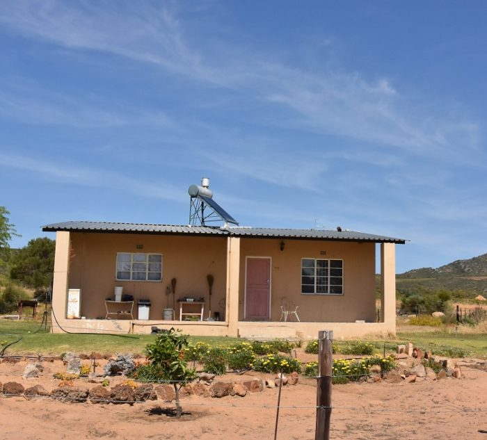 Worker's house with solar geyser at rooibos plantation Ysterfontein in South Africa